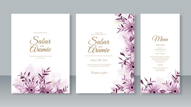 Watercolor purple flower painting for wedding invitation card template set
