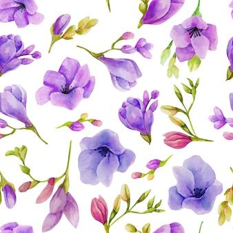 Акварель фиолетовые цветы фрезии бесшовный фон