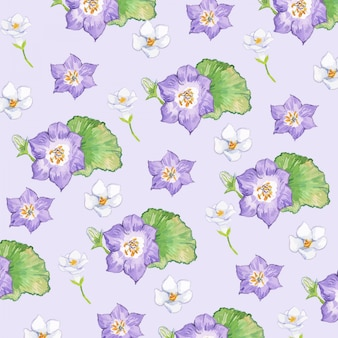 Watercolor purple gentia flower seamless pattern