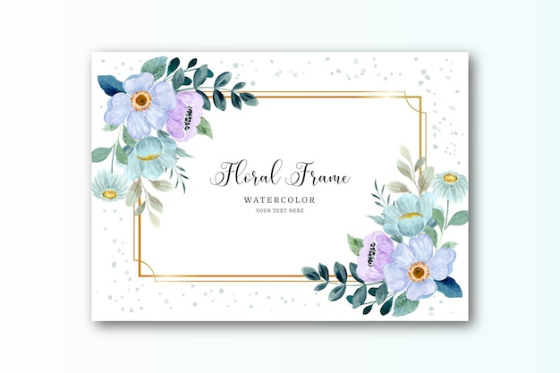 Watercolor purple green flower background with golden frame