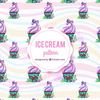 Watercolor purple ice cream pattern background