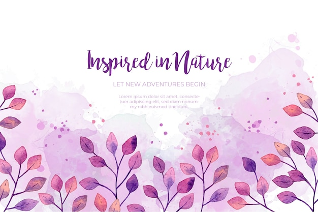 Watercolor purple leaves frame background