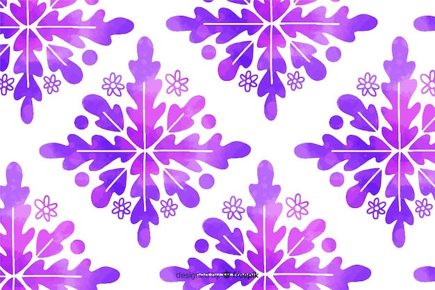 Watercolor purple ornamental flower background