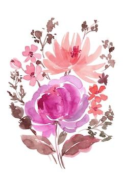 水彩紫牡丹ブーケ
