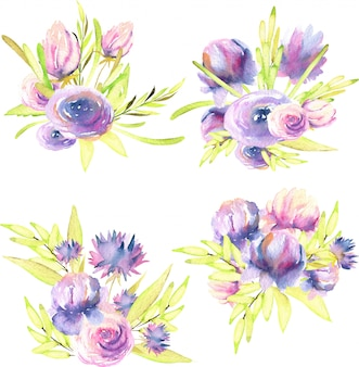 Watercolor purple and pink peonies, roses and asters bouquets