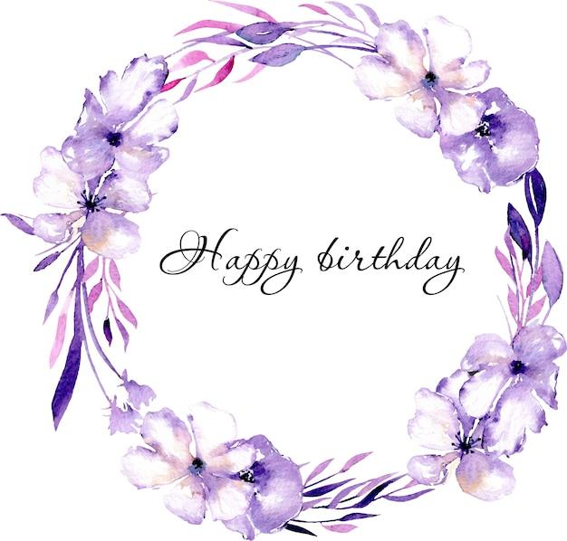 Акварель фиолетовый рододендрон цветы венок