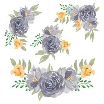 Watercolor purple rose flower bouquet collection