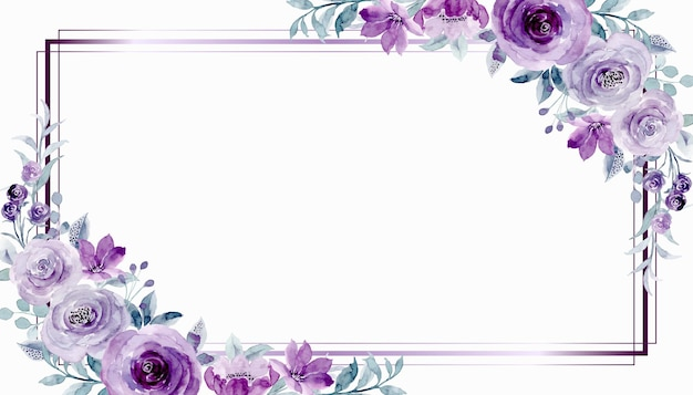 Watercolor purple rose flower frame