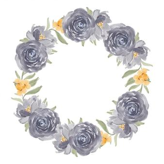 Watercolor purple rose flower wreath