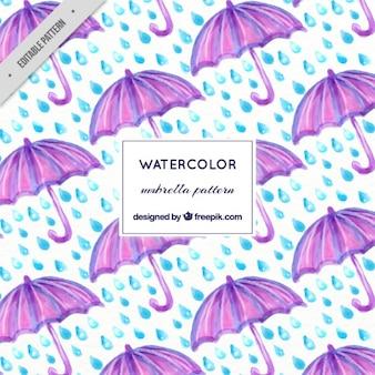 Watercolor purple umbrella and rain pattern
