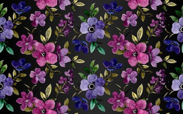 Watercolor purple violet flower seamless pattern on dark background