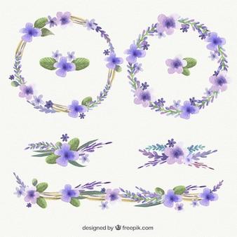 Watercolor purple wreaths