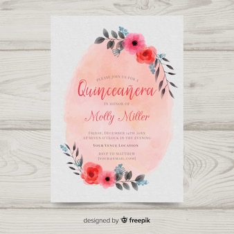 Watercolor quinceañera invitation