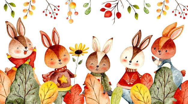 水彩ウサギと紅葉のバナー