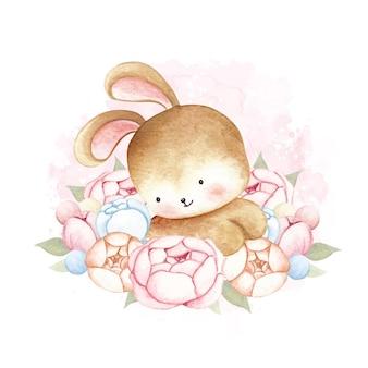 Акварельный кролик и цветочный венок