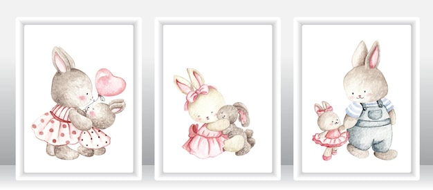 Watercolor rabbit family
