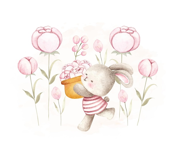 Watercolor rabbit at the garden flower