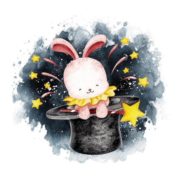 魔法の帽子から飛び出る水彩のウサギ