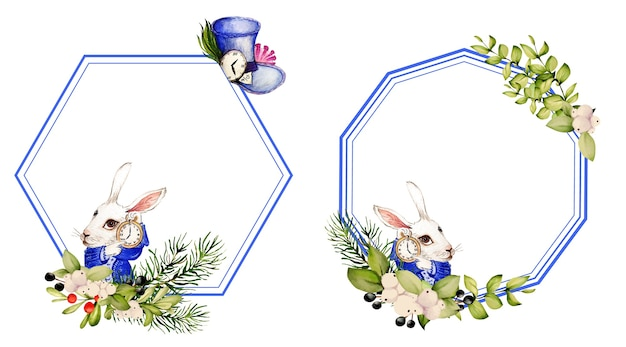 Watercolor rabbit and watchmaker hat from alice in wonderland and frames from elements