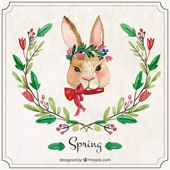 Watercolor rabbit with ornaments
