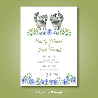 Watercolor raccoon wedding invitation template