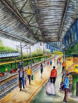 Акварель железнодорожная станция рисованной иллюстрации