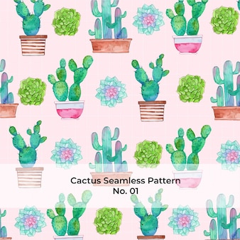 Watercolor rainbow cactus pattern no. 1