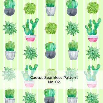 Watercolor rainbow cactus pattern no. 2