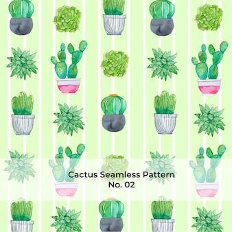 Watercolor rainbow cactus pattern no. 2