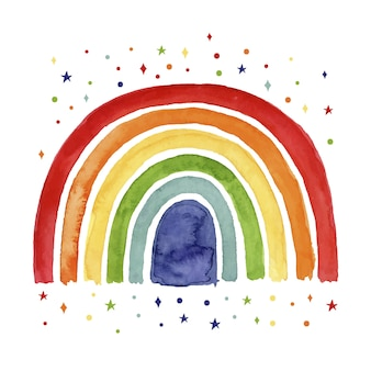Watercolor rainbow concept