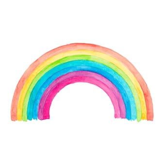 Watercolor rainbow design on white
