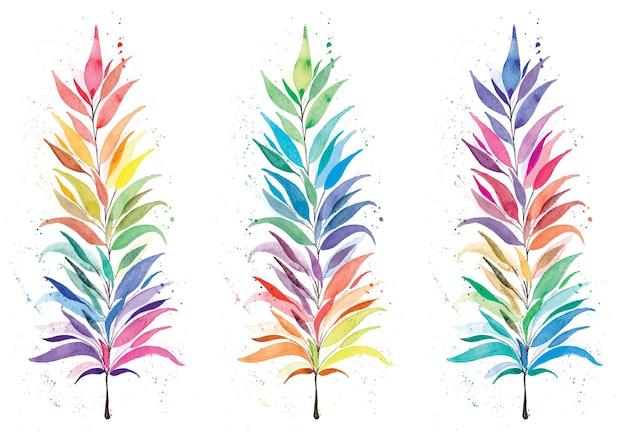 水彩の虹の葉