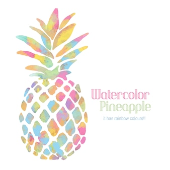Watercolor rainbow pineapple