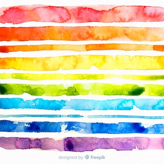 Watercolor rainbow stripes background