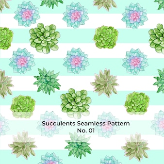 Watercolor rainbow succulents seamless pattern