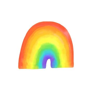 Lgbtq 자부심의 상징인 수채화 무지개. 밝은 손으로 그린 스펙트럼, 벡터 illustrtaion.