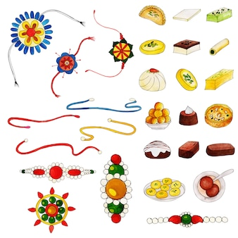 Watercolor rakshabandhan elements collection