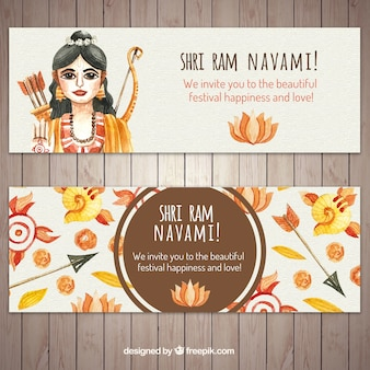 Watercolor ram navami banners