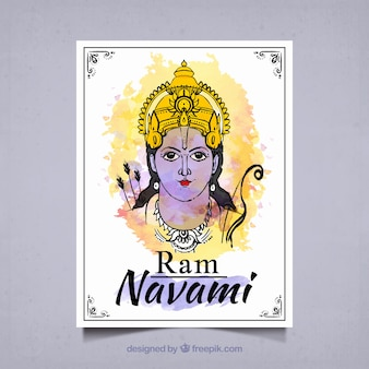 Watercolor ram navami greeting