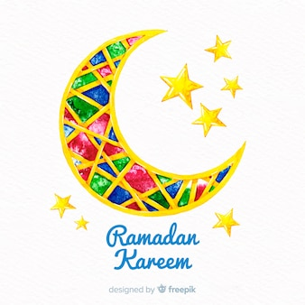 Watercolor ramadan background