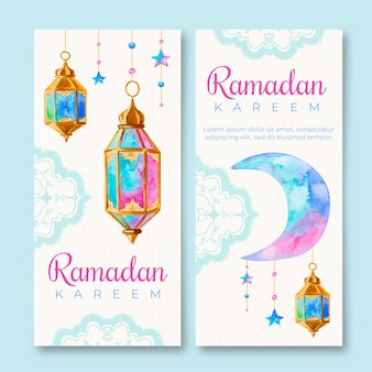 Watercolor ramadan banners