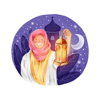 Watercolor ramadan celebration