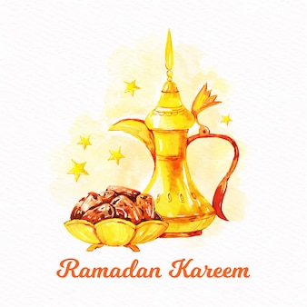 Watercolor ramadan concept