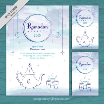 Watercolor ramadan flyers pack