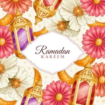 Watercolor ramadan kareem illustration
