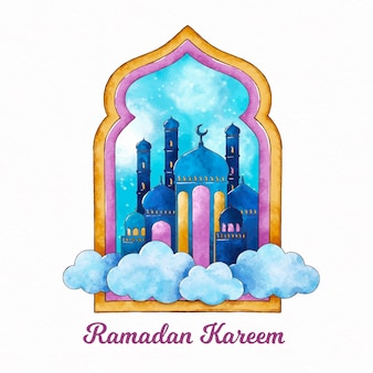 Watercolor ramadan kareem illustration