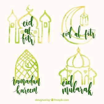 Watercolor ramadan stickers set