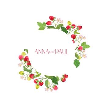 水彩ラズベリー花の結婚式のベクトルフレーム。夏の果物、ベリー、花、結婚式のための葉の境界線テンプレート、最小限の招待状、装飾的な自由奔放に生きる夏のバナー