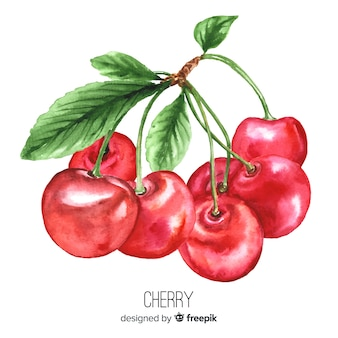 Watercolor realistic cherries background