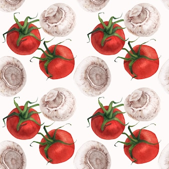 Watercolor realistic food pattern